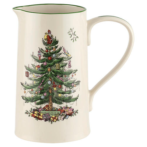 Christmas Tree Jug, White/Green