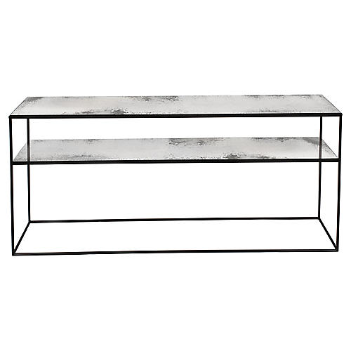 Notre Monde Sofa Console, Silver/Black