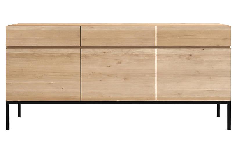 Ligna 3-Drawer Sideboard, Oak/Black