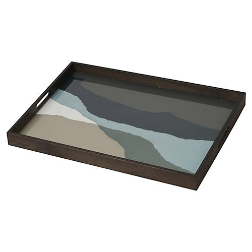 "24"" Wabi Sabi Wide Decorative Tray, Graphite"