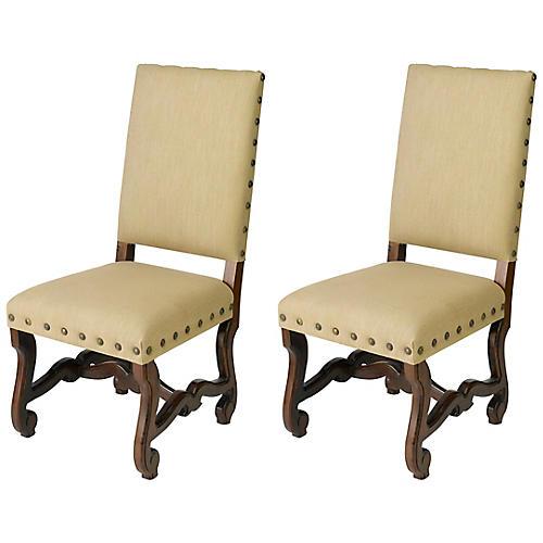 S/2 Harrison Side Chairs, Beige/Multi Linen