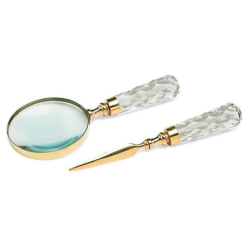 Asst. of 2 Kilroy Desk Tools, Brass/Clear
