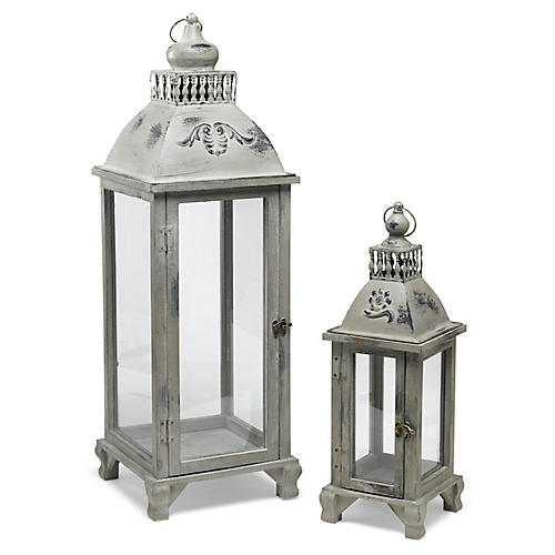 Asst. of 2 Grover Lanterns, Gray/Brass