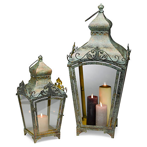 Asst. of 2 Parlin Lanterns, Weathered Green