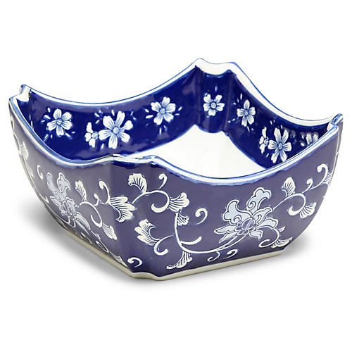 "9"" Petrin Decorative Bowl, Blue/White"