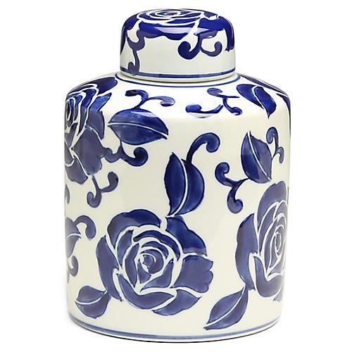 "9"" Giverny Cylindrical Ginger Jar, Blue/White"