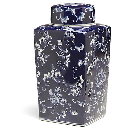 "12"" Petrin Square Ginger Jar, Blue/White"