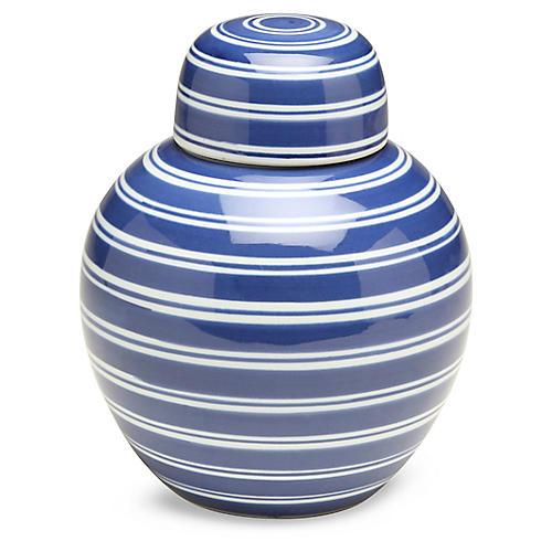 "8"" Shalimar Round Ginger Jar, Blue/White"