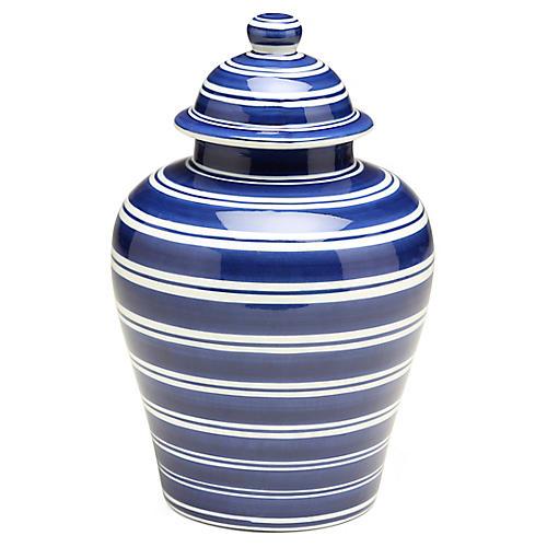 "11"" Shalimar Classic Ginger Jar, Blue/White"