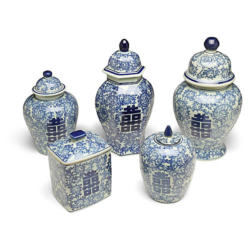 S/5 Bella Jar Set, White/Blue