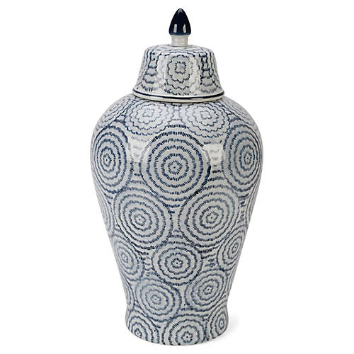 "15"" Vigo Ginger Jar, Blue/White"