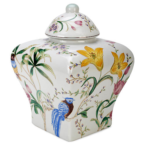 "13"" Floral Paradise Jar w/ Lid, Off-White/Multi"