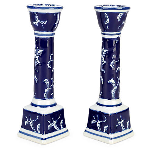S/2 Candlesticks, Blue/White