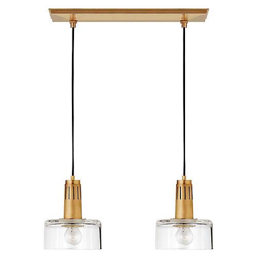 Iris Double Pendant, Antiqued Brass