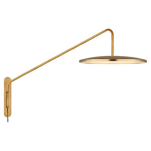 Dot Articulating Sconce, Natural Brass