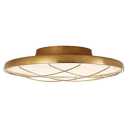 Dot Semi-Flush Mount, Natural Brass