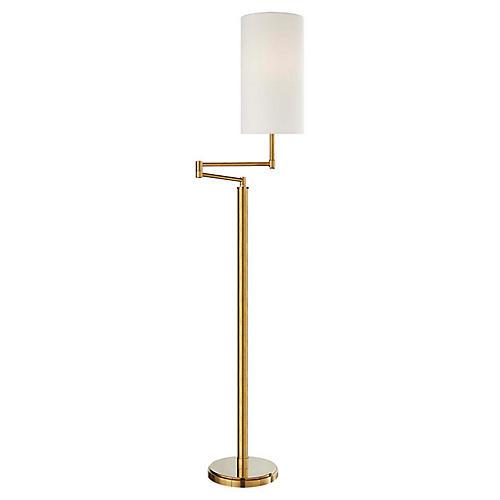 Anton Large Swing-Arm Floor Lamp, Antiqued Brass