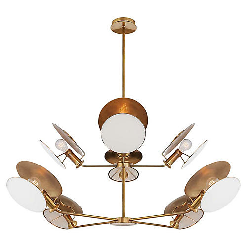 Osiris Reflector Chandelier, Antiqued Brass