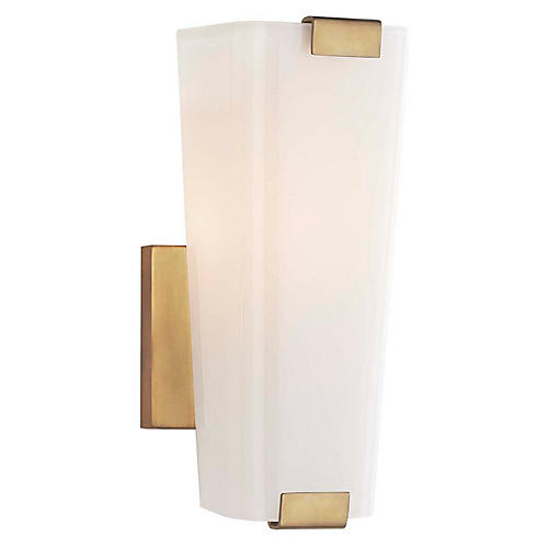 Alpine Single Sconce, Antiqued Brass/White