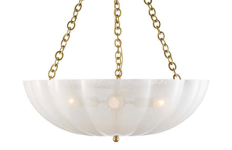Rosehill Chandelier, Brass/White