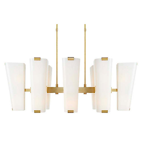 Alpine Linear Chandelier, Brass/White