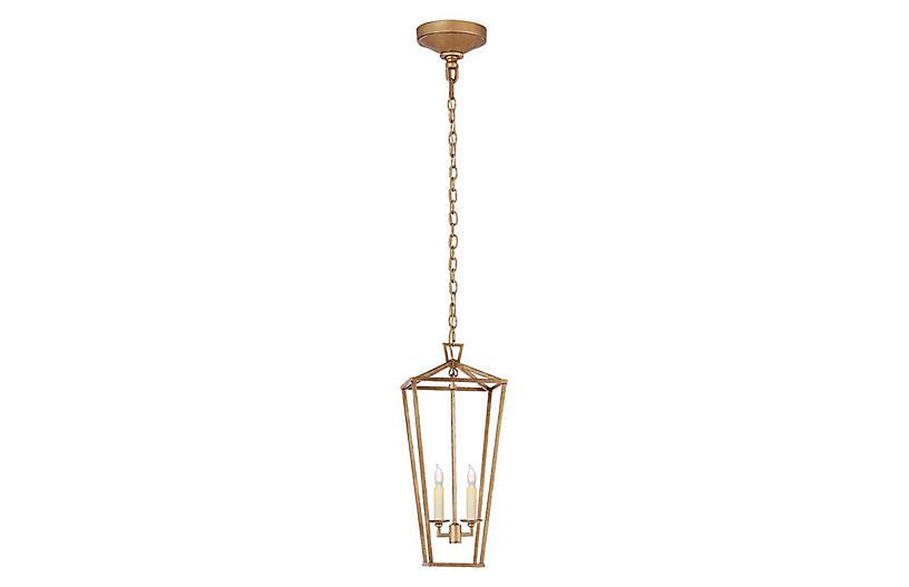 Darlana Tall Lantern, Gilded Iron
