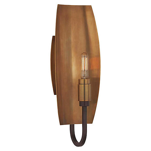 Lola Reflector Sconce, Aged Iron/Brass