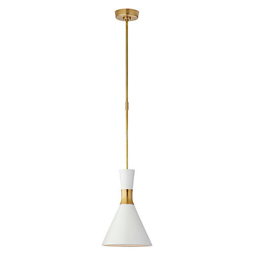 Liam Conical Pendant, Matte White/Brass