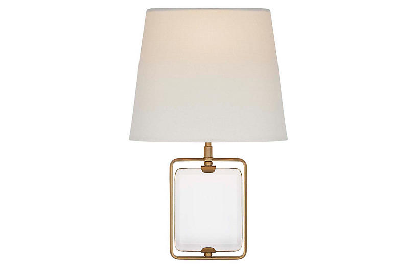 Henri Crystal Sconce, Antiqued Brass