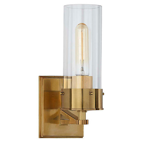 Marais Bath Sconce, Antiqued Brass