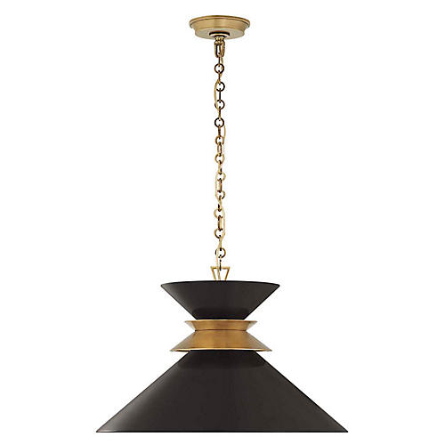 Alborg Large Stacked Pendant, Matte Black/Brass