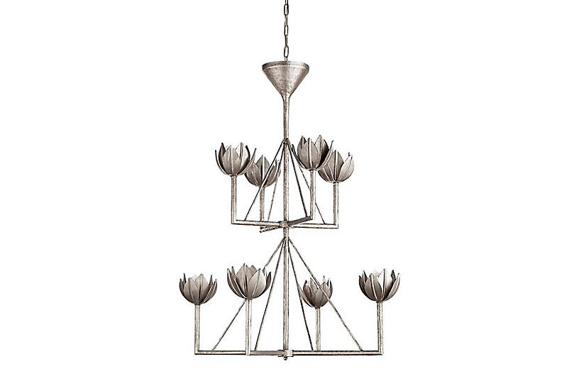 Alberto Chandelier, Burnished Silver Leaf