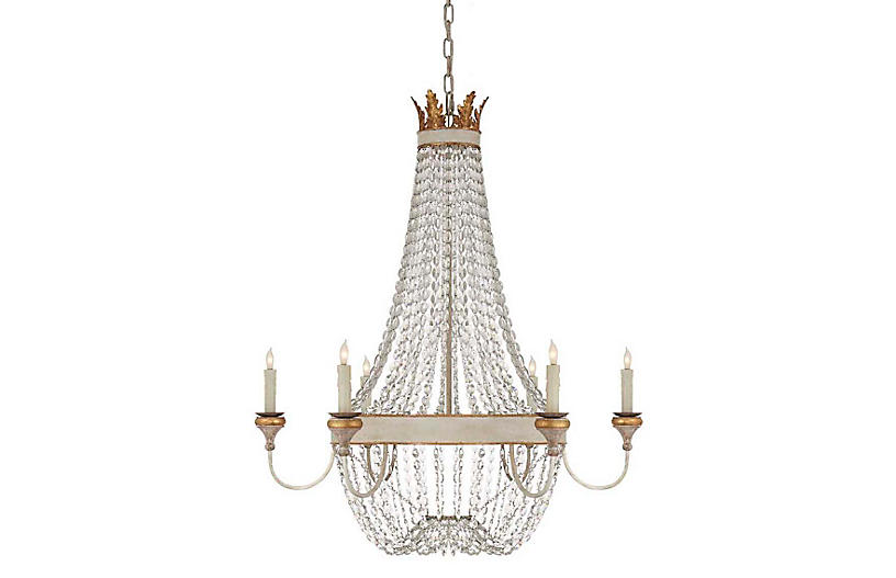 Entellina Chandelier, Vintage White And Gild