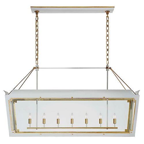 Caddo Lantern Linear, Soft White With Gild