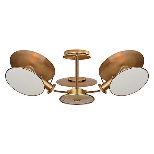 Osiris Semi-Flush Mount, Hand-Rubbed Antiqued Brass