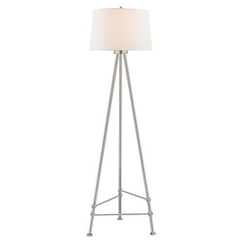 Lafitte Floor Lamp, Burnished Silver Leaf