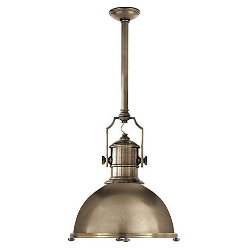 Country Industrial Large Pendant, Antiqued Nickel