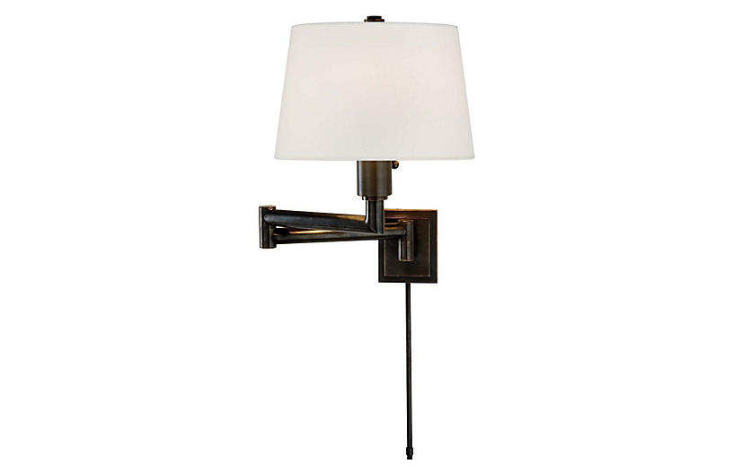 Chunky Swing-Arm Sconce, Bronze