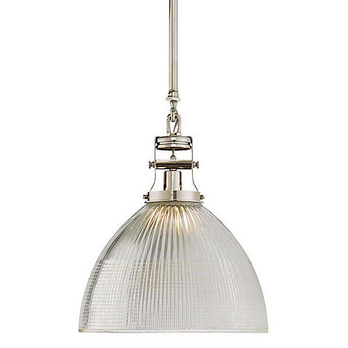 Millson Pendant, Polished Nickel/Clear