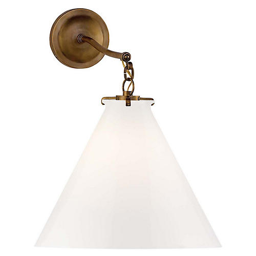 Katie Conical Sconce, Brass/White