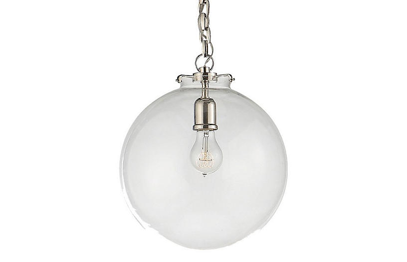 Katie Globe Pendant, Polished Nickel