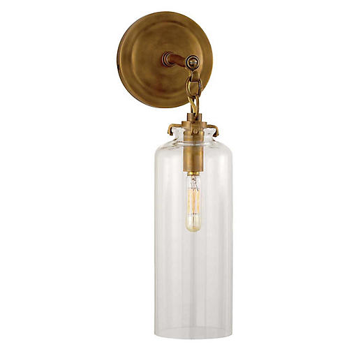 Katie Cylindrical Sconce, Antiqued Brass