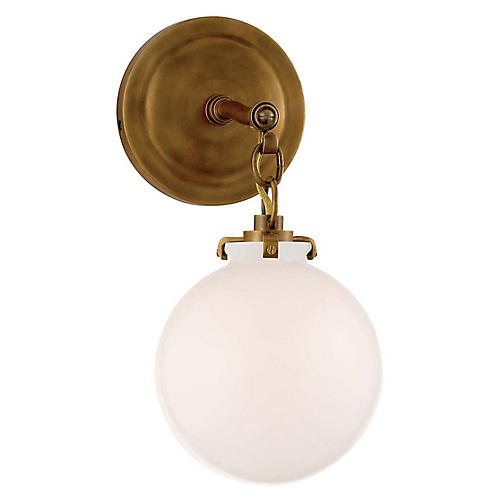 Katie Globe Sconce, Antiqued Brass