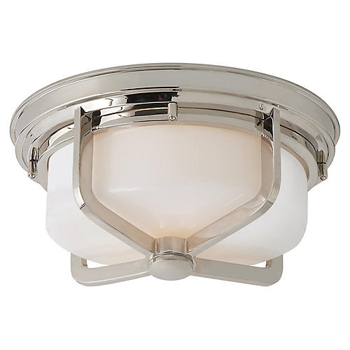 Milton Large Flush Mount, Nickel/White