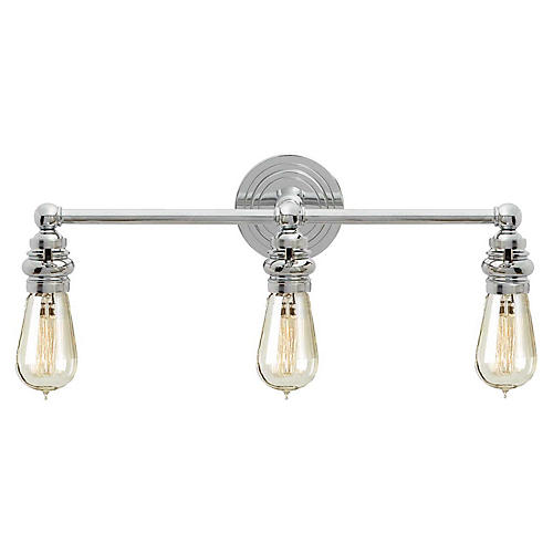 Boston 3-Light Bath Bar, Polished Nickel