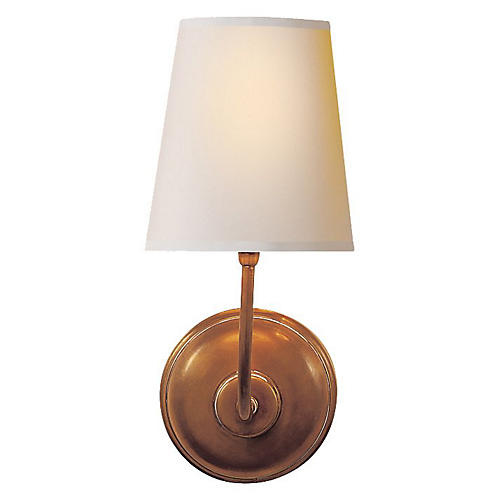Vendome Single Sconce, Hand-Rubbed Brass