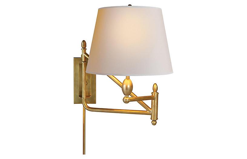 Paulo Swing-Arm Sconce, Brass