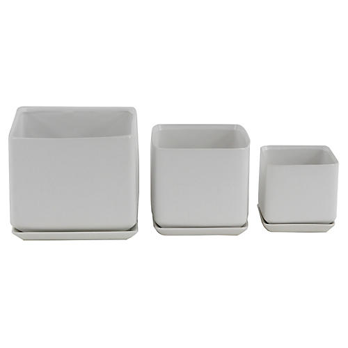 Asst. of 3 Thomsen Outdoor Planters, White