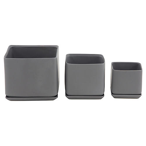 Asst. of 3 Thomsen Outdoor Planters, Gray