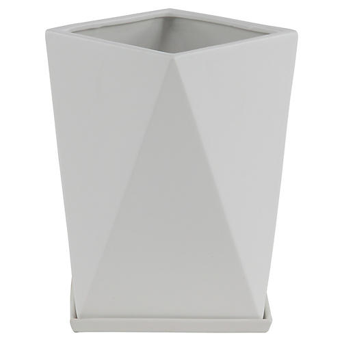 "13"" Millay Outdoor Planter, White"